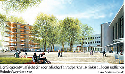 Bahnhofsvorplatz mit Fahrradparkhaus
