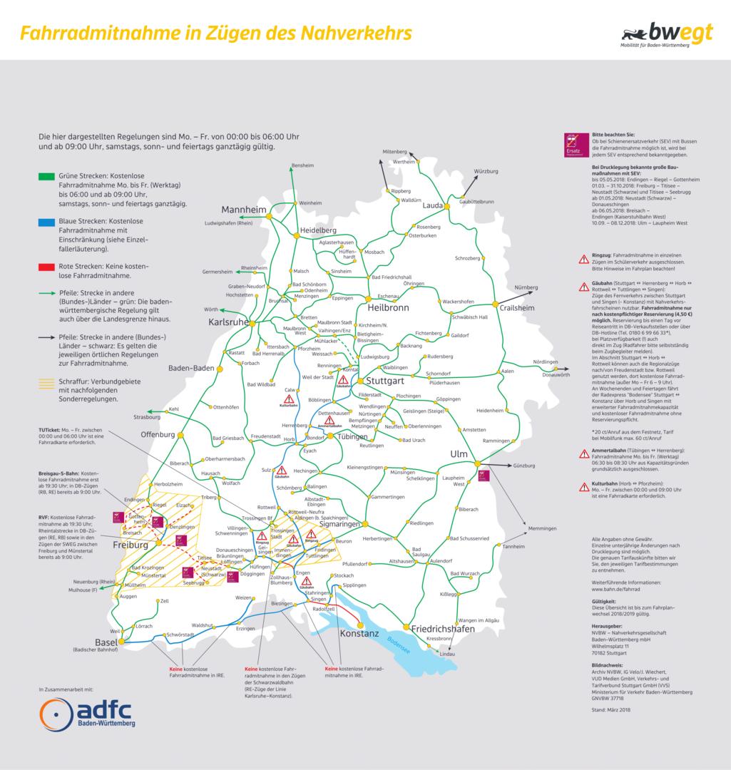 Baden Wurttemberg Karte Db.Fahrrad Und Offentlicher Nahverkehr Adfc Bw